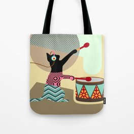 Kitty On The Drum Tote Bag