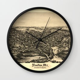 Aerial View of Houlton, Maine (1894) Wall Clock