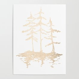 Three Sisters Forest White Gold Trees Poster