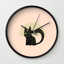 Kiwi the black cat Wall Clock