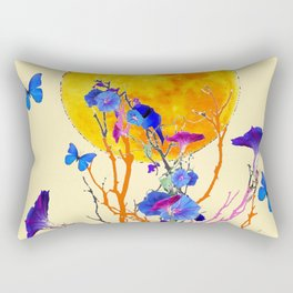 BLUE BUTTERFLIES MORNING GLORY  FULL MOON ART Rectangular Pillow