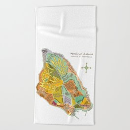 Mackinac Island Illustrated Map Beach Towel