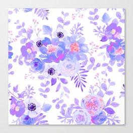 Lilac lavender violet pink watercolor elegant floral Canvas Print