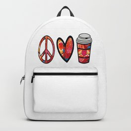 Afro retro Peace Love and Coffee Backpack