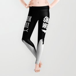 Shark Week, white text on black Leggings
