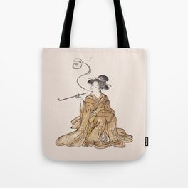 Vintage Oriental Antique Japan Smoking Lady Tote Bag