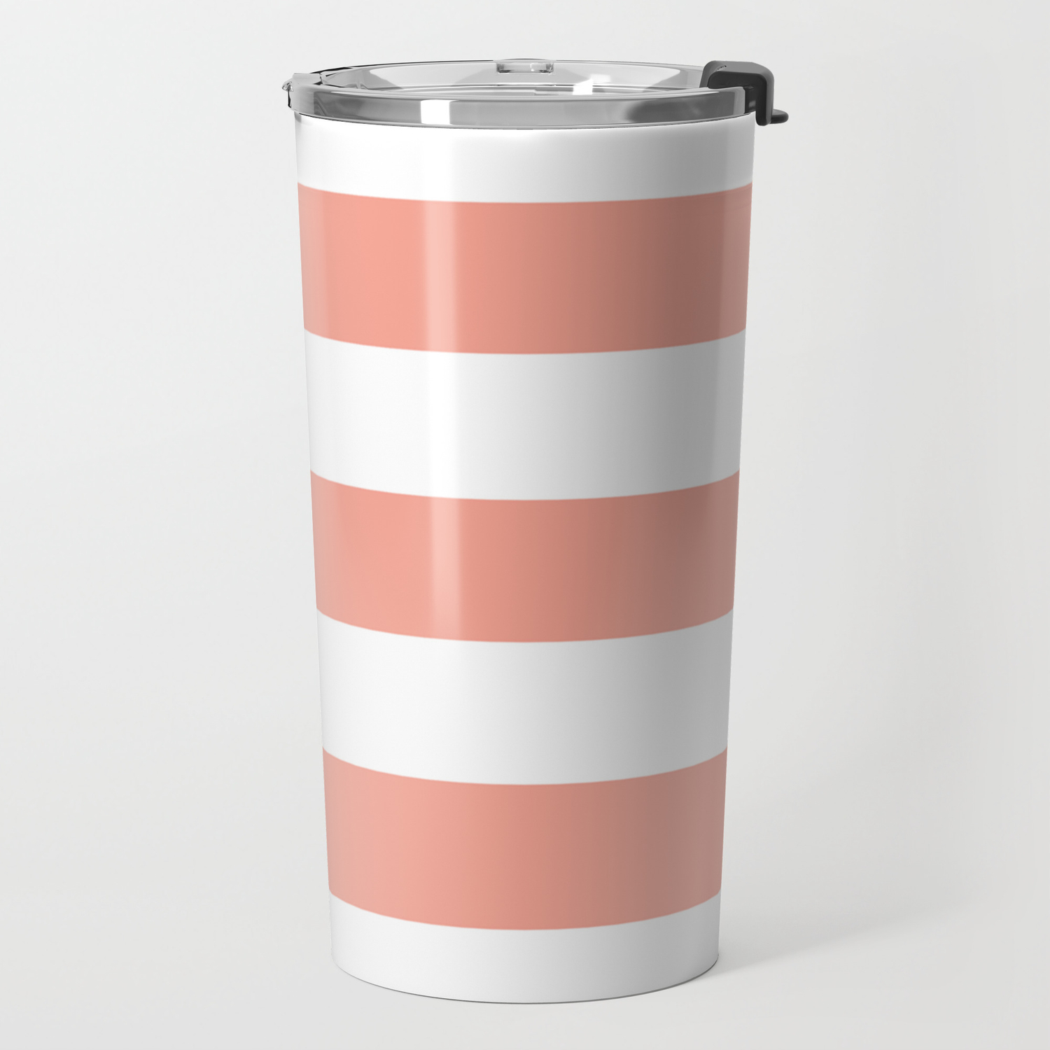 Coral Reef Valspar Paint Color Solid Color White Stripes Pattern Travel Mug By Makeitcolorful Society6