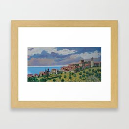 Italian hillside village Framed Art Print