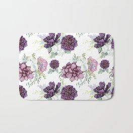 Succulents Deep Violet Lavender Pastel Green Lilac PatternSee Nature Magick for more pretty pastel c Bath Mat