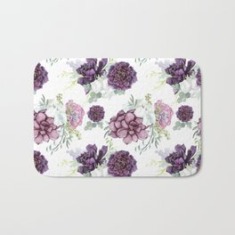 Succulents Deep Violet Lavender Pastel Green Lilac PatternSee Nature Magick for more pretty pastel c Bath Mat