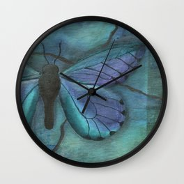 Mixed Media Butterfly in Blue by Kimberly Schulz Wall Clock