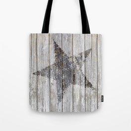 Grunge Star on old weathered grey wood Tote Bag