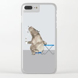 cofffee time hippo Clear iPhone Case