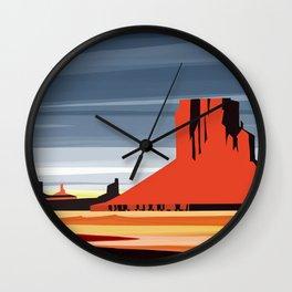 Monument Valley sunset magic realisim Wall Clock
