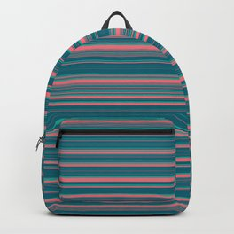 Deep Sea Blue & Pink Candy Lines Backpack
