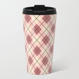 Beige, brown , pink gingham pattern. Travel Mug