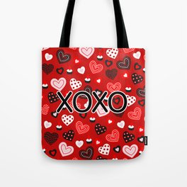 XOXO Valentine Pattern With Hearts Tote Bag