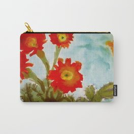 Tropical Desert Red Epiphyllum Orchid Cactus still life painting  Carry-All Pouch