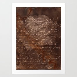 Letter and Rose I, brown edition Art Print