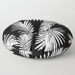 Tropical Palm Leaves Black And White Minimalistic Pattern Floor Pillow