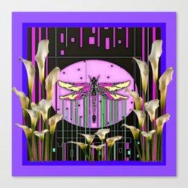 Purple Art Nouveau Calla Lilies Dragonfly Art Canvas Print