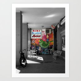 Black and White Bar in Bologna Street Art  Photography Art Print