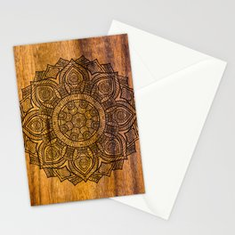 Mandala on Wood Stationery Cards