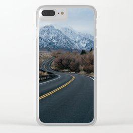 Blue Mountain Road Clear iPhone Case