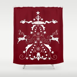 Retro damask christmas tree with text and reindeer Shower Curtain