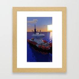 "Minecraft - Operation Infinite Ocean -Tug ""Raffy"" -W/O text  Framed Art Print"