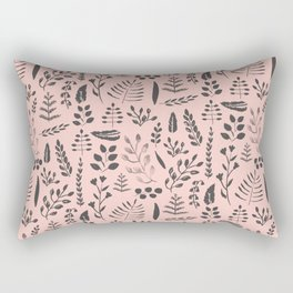 Pink and black leaves Rectangular Pillow
