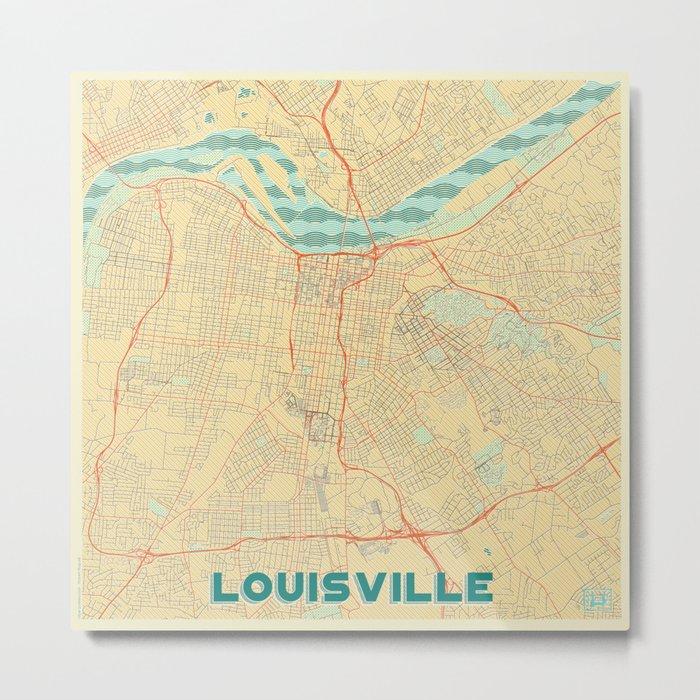 Louisville Map Retro Metal Print