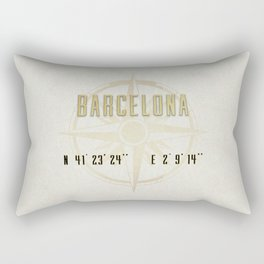 Barcelona - Vintage Map and Location Rectangular Pillow