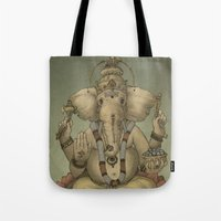 ganesha Tote Bags featuring Ganesha by Sumi Senthi