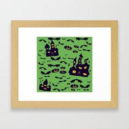 Green Haunted Houses Framed Art Print