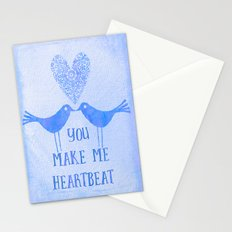 Heartbeat love birds blue Stationery Cards