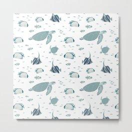 Hamptons Style Blue White Ocean Pattern Metal Print