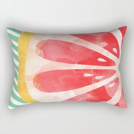 Red Grapefruit Abstract Rectangular Pillow