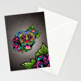 Smiling Pit Bull in Blue - Day of the Dead Pitbull Sugar Skull Stationery Cards