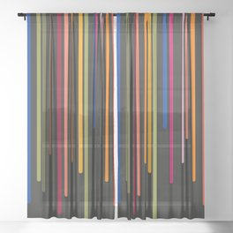 Rousing Colorful Stripes Sheer Curtain