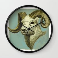 ram Wall Clocks featuring Ram by Merz