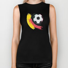 Football ball and red, yellow strokes Biker Tank