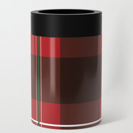 Red, Black and Green Striped Plaid Can Cooler