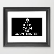 Keep Calm and Countersteer - White Text Framed Art Print