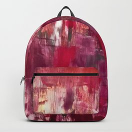 Sunset in the Valley [2]: a colorful abstract piece in reds, pink, gold, gray, and white Backpack