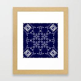 Blue and Grey Kaleidoscope Pattern #1 Framed Art Print