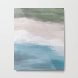 Ocean Aqua Blue Green Grass Beige Sand Abstract Tropical Hawaii Aerial Wall Art, Painting Metal Print