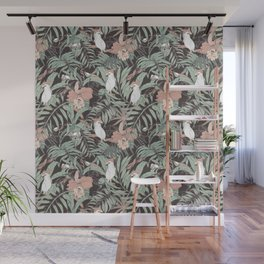 Exotic birds in the dark of the jungle Wall Mural