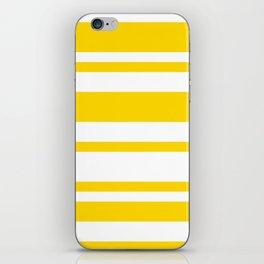 Mixed Horizontal Stripes - White and Gold Yellow iPhone Skin