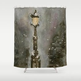 Lamp Post in Blue Shower Curtain